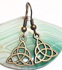 CELTIC KNOT_Bronze Charm Earrings_Triquetra Trinity Irish Pagan St. Patrick_31E