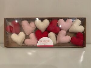 Love & Cupcakes Red Pink & White Hearts Valentines 6 Ft Felt Garland Free Ship