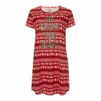 Womens Ladies Christmas Xmas Nightie Night Wear Dress Shirt Long Plus Size 4-24
