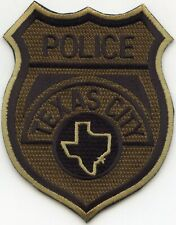 TEXAS CITY TEXAS TX see the back of this patch SUBDUED GREEN POLICE PATCH