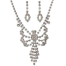 NEW KIRKS FOLLY BUTTERFLY WISH CRYSTAL NECKLACE AND EARRING SET  SILVERTONE