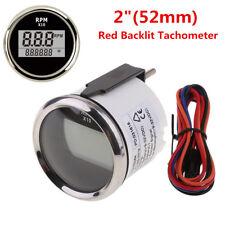 52mm Red LED Digital Car Marine RV Tachometer Engine Hourmeter RPM Meter Gauge