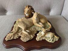 More details for large sherratt & simpson lion family on wooden plinth 1993 m simpson