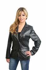 Leather Patternless Blazer Button Coats & Jackets for Women
