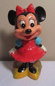 Vtg Plaster Papier Mache Minnie Mouse Coin Piggy Bank Walt Disney Prod. Korea