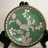 Small Chinese Cloisonne On Brass Green & White Branches Blossoms Plum Pin Tray