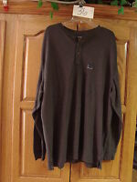 NEW MENS ST JOHNS BAY LONG SLEEVE HENLEY THERMAL SHIRT CARBON HEATHER 2XL