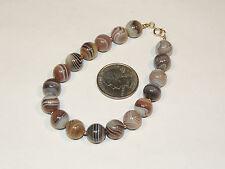 "14K Gold and Botswana Agate Bracelet 8 1/2"" long (3435)"