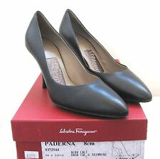 SALVATORE FERRAGAMO PADERNA 8CM NERO CALF BLACK LEATHER SHOES PUMPS SIZE 5 NEW