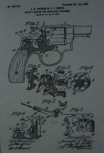 USA Patent Drawing REVOLVER gun Firearm Safety Device MOUNTED PRINT 1899 Gift