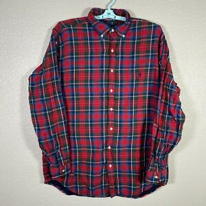Ralph Lauren Button Down Flannel Shirt Mens XLT XL Tall Red Plaid Heavy Cotton
