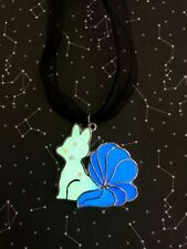 Pokemon Inspired Ninetales Glow In The Dark Pendant With Black Ribbon and Cord
