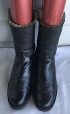 SANTANA CANADA WMN's Black Leather Sheepskin Pull On Winter Mid-Calf Boots Sz 11