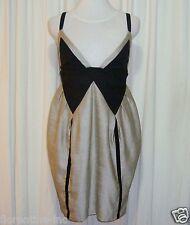 BEAUTIFUL SASS&BIDE SILVER GREY & BLACK TULIP STYLE DRESS 42/6 (AUS 12)