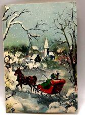 Hallmark Vintage Best Wishes Christmas Greeting Card Used 1950's