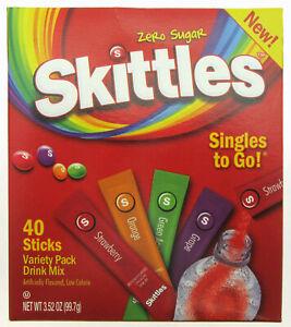 NEW! Skittles ~ 40 Sticks ~ Zero Sugar ~ Drink Mix