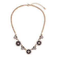 Floral Enamel Rhinestone Necklace Stylish Anthropologie Medieavan Black Insignia