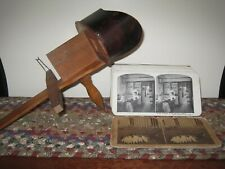 Vintage Wooden Stereoscope Stereo Viewer & 58 Cards