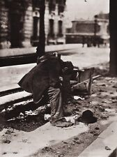 1900/63 Vintage 11x14 POVERTY Poor Homeless Man Paris France Photo EUGENE ATGET