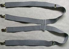 Braces Suspenders Mens Vintage CLIP ON 1970s 1980s GREY STRIPED