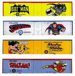 Super hero boxcars set, Z scale printed sides