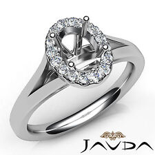 Oval Diamond Semi Mount Engagement 14k White Gold Halo Pave Setting Ring 0.2Ct