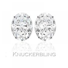 0.50ct Oval Shape Certified F SI Diamond Solitaire Stud Earrings 18ct White Gold