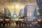 Paris Sunset 1800s Eiffel Tower Restaurants Shops Large Stretched Oil Painting
