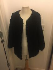 Black Faux Teddy Sherpa Mongolian Style Fur Jacket Coat M