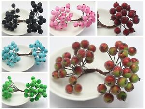 40pcs Artificial Flower Stamen Glass Floral Headed Fake Cherry Foam Fruit Berry