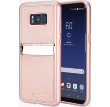 Michael Kors Saffiano Phone Cover with Pocket for Galaxy S8+ Plus Rose Gold, NEW