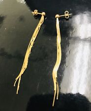 18k Yellow Gold Sexy Tassle long dangling Earring Earrings 4.30 Grams