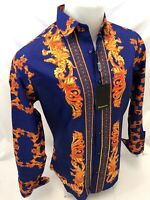 Mens PREMIERE Long Sleeve Button Down Dress Shirt BLUE GOLD LEAF ABSTRACT 340