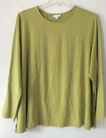 NEW J. JILL 1X 3X 4X L/S Wrapped-back Knit Shirt Top Cotton/Modal/Spx Green