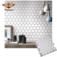 Hexagon Vinyl Sticker Self Adhesive Wallpaper 3D Peel&Stick Kitchen Wall Tiles