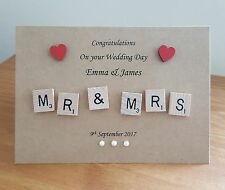 PERSONALISED MR & MRS SCRABBLE WEDDING DAY DATE CARD HEARTS MRS & MRS MR & MR