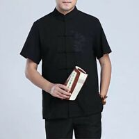 New Embroidered Chinese Oriental Mens Kung Fu Black with Dragon Top Short Shirt