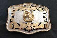 VTG HUGE Silver & Gold Plated Open Filigree Alpaca HORSE & HORSESHOE Belt Buckle