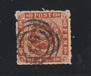 Denmark Sc 9 used. 1863 4s brown, rouletted Royal Emblems