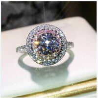 Shiny 925 Silver Round Pink Sapphire Ring Bride Wedding Engagement Fine Jewelry