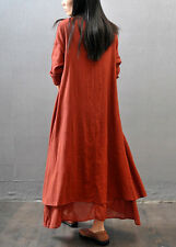 Women Ethnic Boho Linen Style Long Sleeve Gypsy Blouse Loose Shirt Maxi Dress