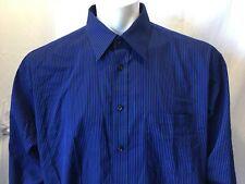 Nicole Miller New York Blue Black Striped L/S Button Down Shirt Size 17-17 1/2