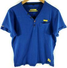 Jack&Jones T shirt  Homme Bleu Col ouvert Coton  Taille L  Envoi rapide et suivi