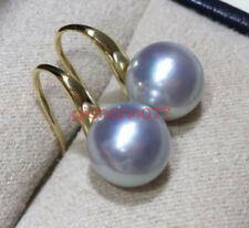 Charming AAAA REAL ROUND 9-10MM SOUTH SEA GRAY PEARL EARRINGS 18K