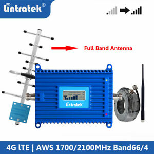 4G LTE 1700/2100MHz 70dB Cell Phone Signal Booster Band 66/4 Repeater Kit Data