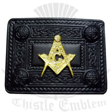 Men's Scottish Kilt Belt Buckle Masonic Jet Black/Celtic Design Belt Buckles