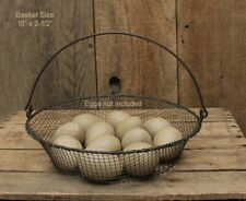 "Rustic Wire Basket with Swinging Handle - 10.5"" x 2.5"" - Farmhouse"