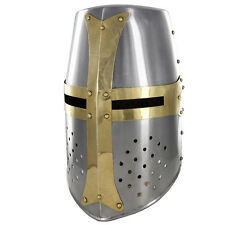 Crusader Re-enactment Mighty Great Brass 20g Helm Knights Helmet