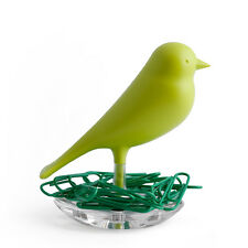QUALY Sparrow Nest Paperclip Holder Green Magnetic Base Gift Idea Designer