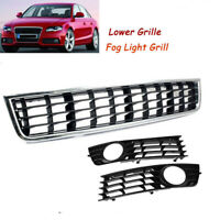 3x Front Bumper Center Lower Grille + Fog Light Grill For 02-04 Audi A4 B6 Sedan